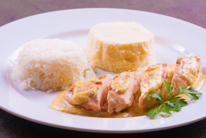 Μπριζόλα χοιρινού κρέατος με τη σάλτσα στοκ φωτογραφίες με δικαίωμα ελεύθερης χρήσης