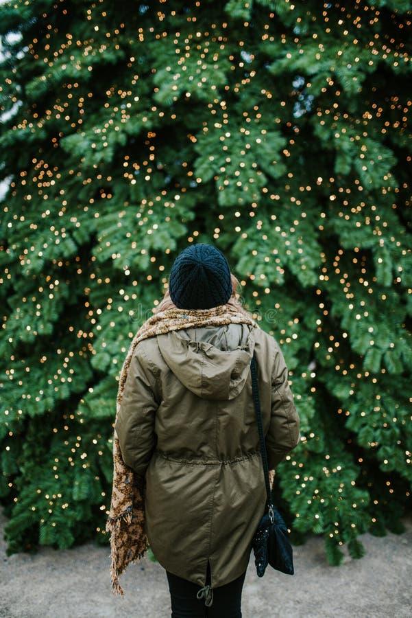 Μπροστά από το χριστουγεννιάτικο δέντρο στοκ εικόνες