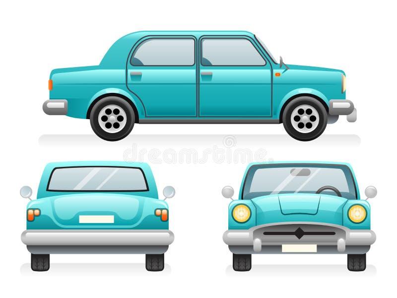 Μπροστινά πίσω πλευράς σημείου εικονίδια αυτοκινήτων άποψης αναδρομικά καθορισμένα τα σύμβολα Clipart μεταφορών σχεδίου τη διανυσ απεικόνιση αποθεμάτων