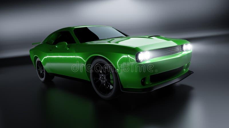 Μπροστινή άποψη γωνίας ενός γενικού πράσινου brandless αμερικανικού αυτοκινήτου μυών στοκ εικόνα