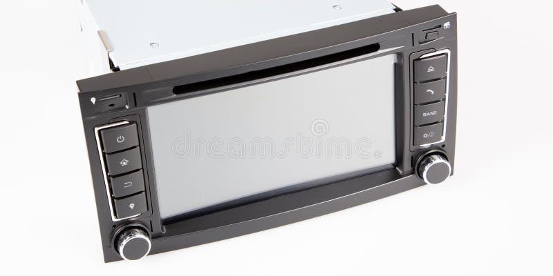 Μπροστινή άποψη δεκτών μέσων αυτοκινήτων ψηφιακή που απομονώνεται στο άσπρο υπόβαθρο στοκ φωτογραφίες