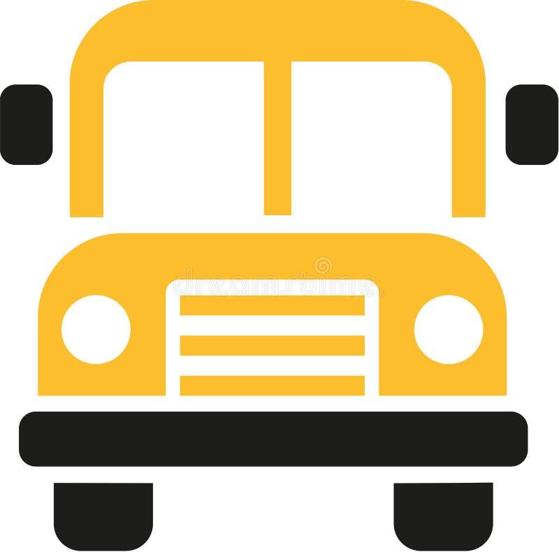 Μπροστινή άποψη εικονιδίων σχολικών λεωφορείων διανυσματική απεικόνιση