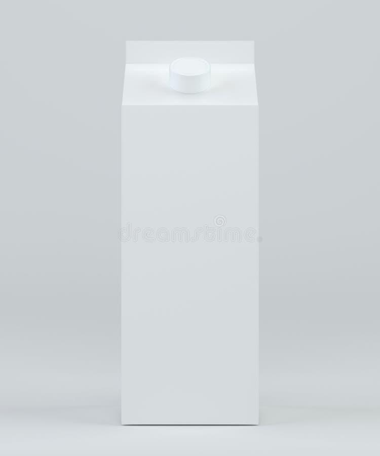 Μπροστινή άποψη κιβωτίων γάλακτος Κιβώτιο χαρτοκιβωτίων με το πρότυπο κεφαλής κοχλίου Άσπρο σαφές κενό κιβώτιο τρισδιάστατη απόδο ελεύθερη απεικόνιση δικαιώματος