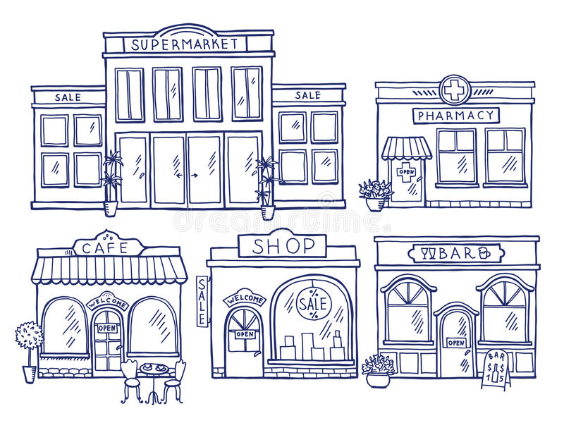 Μπροστινή άποψη προσόψεων κτηρίων Κατάστημα, καφές, λεωφόρος και φαρμακείο Απεικονίσεις Doodle καθορισμένες διανυσματική απεικόνιση
