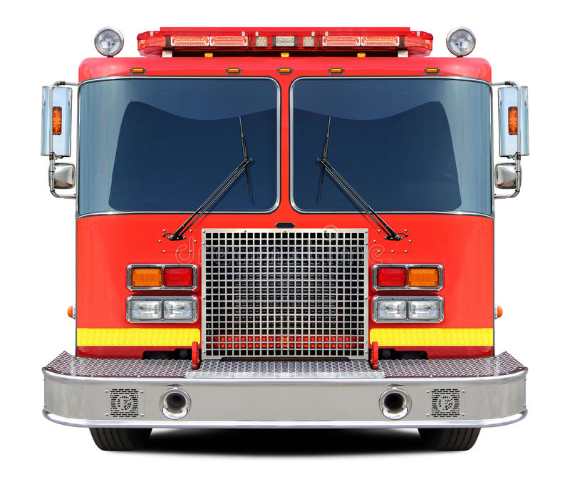 Μπροστινή άποψη πυροσβεστικών οχημάτων στοκ εικόνα