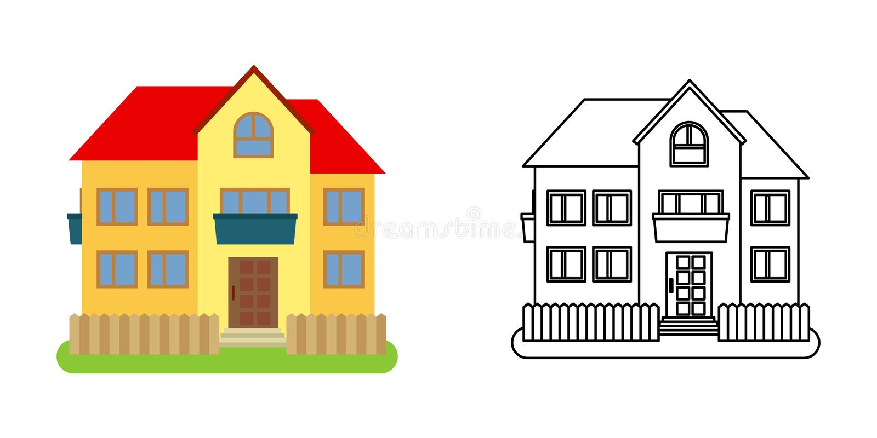 Μπροστινή άποψη σπιτιών στο επίπεδο και ύφος γραμμών ελεύθερη απεικόνιση δικαιώματος