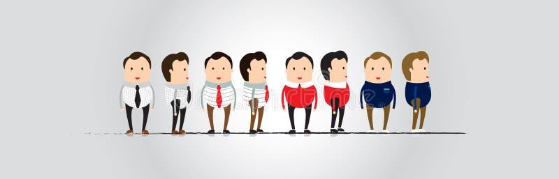 Μπροστινή άποψη σχεδίου χαρακτήρα ατόμων και πλάγια όψη στοκ εικόνα