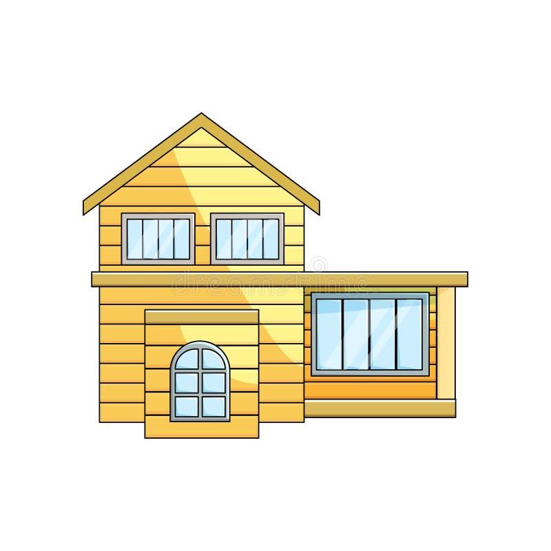 Μπροστινή άποψη της ξύλινης εξωτερικής αγροτικής αρχιτεκτονικής σπιτιών eco με το skillion στο κενό υπόβαθρο απεικόνιση αποθεμάτων