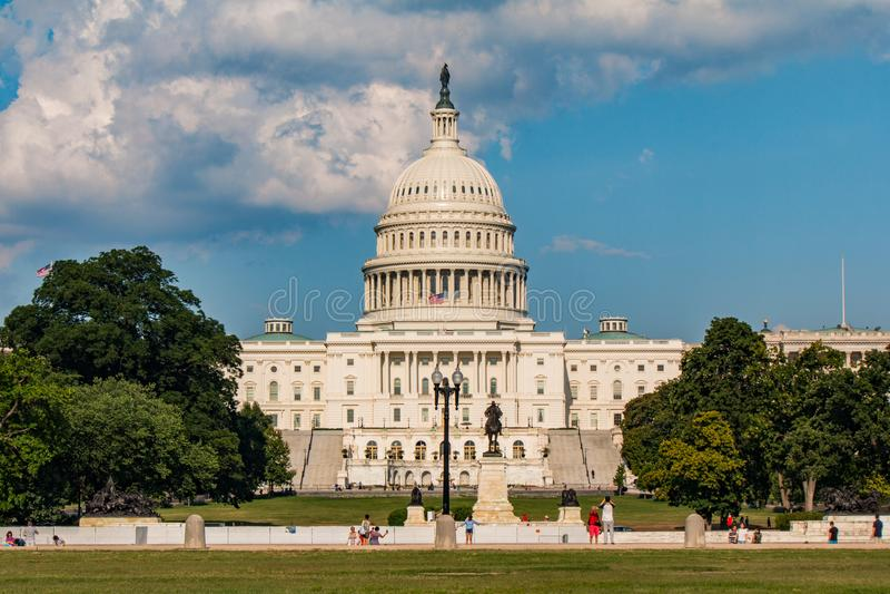 Μπροστινή άποψη των ΗΠΑ Capitol, στο Washington DC στοκ εικόνα