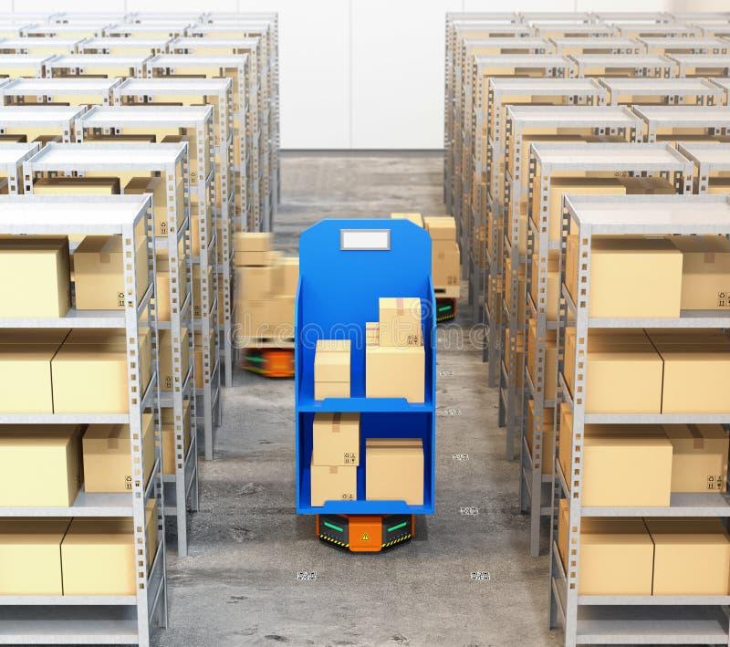 Μπροστινή άποψη των πορτοκαλιών μεταφορέων ρομπότ που μεταφέρουν εμπορεύματα στη σύγχρονη αποθήκη εμπορευμάτων διανυσματική απεικόνιση