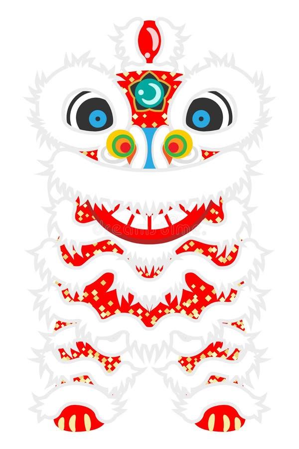 Μπροστινή άποψη χορού λιονταριών - ο χορός λιονταριών είναι παραδοσιακός πολιτισμός του κινεζικού νέου έτους διανυσματική απεικόνιση