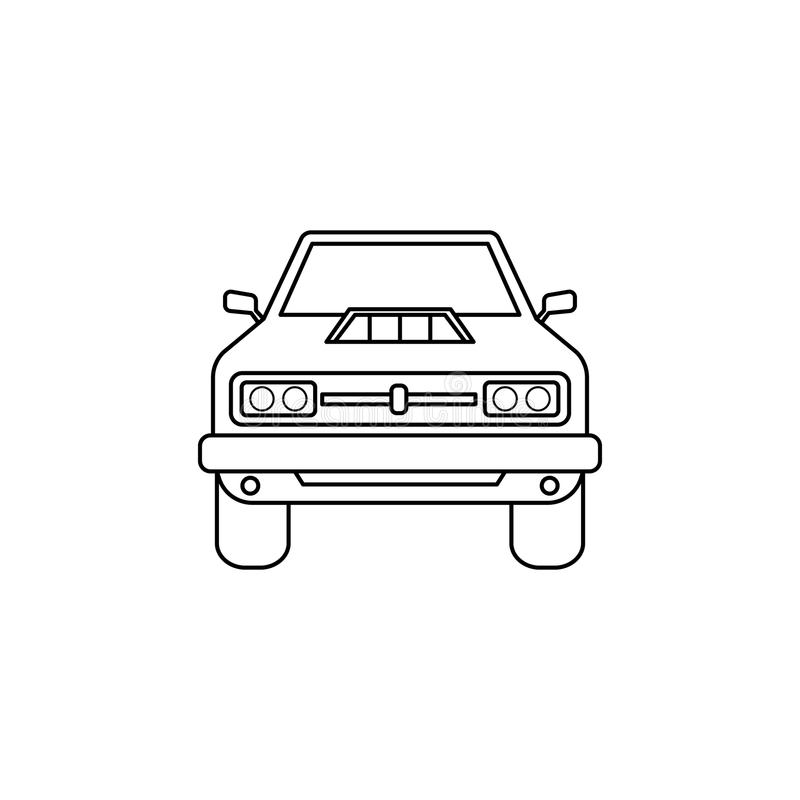 μπροστινή απεικόνιση αυτοκινήτων μυών Στοιχείο των ακραίων φυλών για την κινητούς έννοια και τον Ιστό apps Λεπτή μπροστινή απεικό ελεύθερη απεικόνιση δικαιώματος
