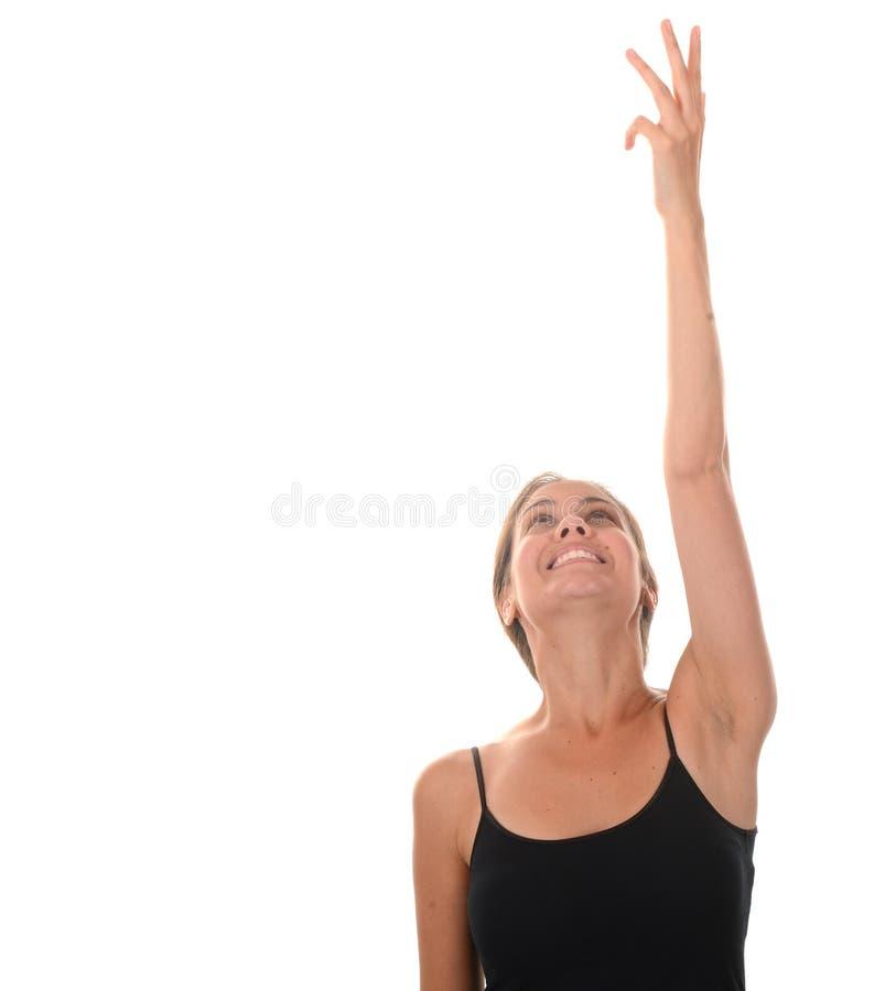 μπροστινή γυναίκα τεντώματος χεριών ο εστίασης προσώπου δ φ έξω ρηχή στοκ εικόνες