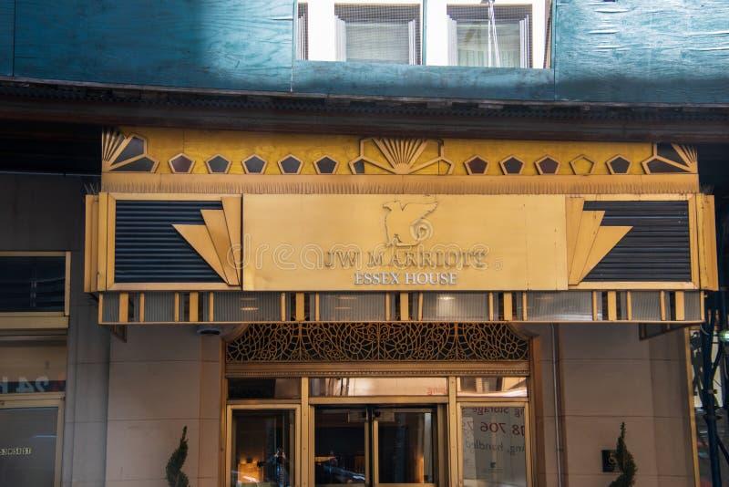 Μπροστινή είσοδος του J W Ξενοδοχείο σπιτιών Essex Marriott στην πόλη του Μανχάταν Νέα Υόρκη στοκ εικόνα με δικαίωμα ελεύθερης χρήσης