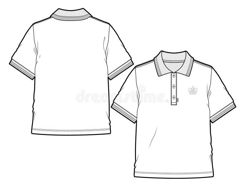 Μπροστινή και πίσω άποψη ενός κενού πουκάμισου πόλο ελεύθερη απεικόνιση δικαιώματος