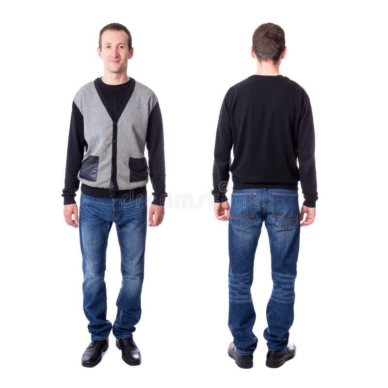 Μπροστινή και πίσω άποψη του μέσου ηλικίας ατόμου που απομονώνεται στο λευκό στοκ εικόνες με δικαίωμα ελεύθερης χρήσης
