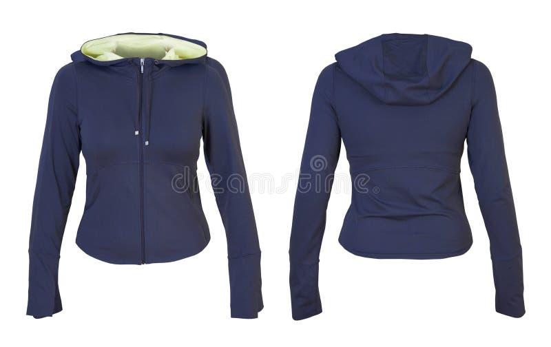 Μπροστινή και πίσω μπλε μπλούζα στοκ φωτογραφία με δικαίωμα ελεύθερης χρήσης