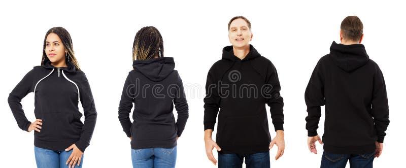 Μπροστινή πίσω και οπίσθια μαύρη άποψη μπλουζών Όμορφα μαύρη γυναίκα και άτομο στα ενδύματα προτύπων για το διάστημα τυπωμένων υλ στοκ εικόνα με δικαίωμα ελεύθερης χρήσης
