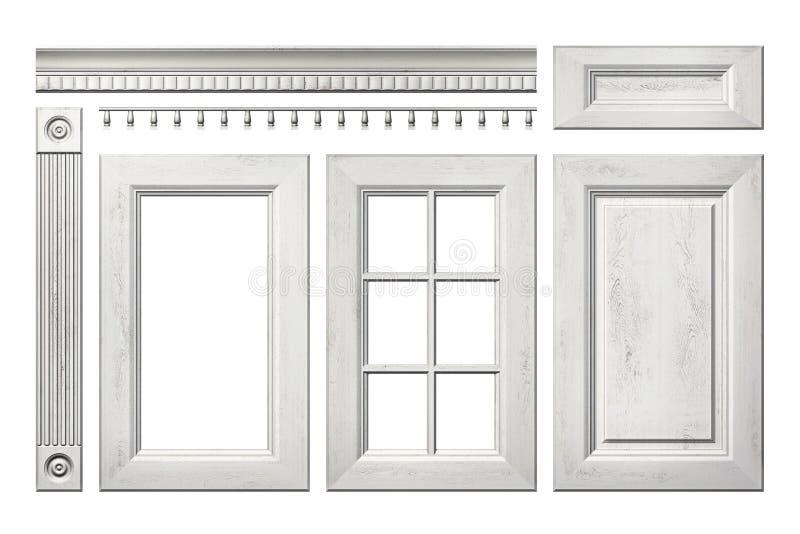 Μπροστινή συλλογή της παλαιάς ξύλινης πόρτας, συρτάρι, στήλη, γείσο για το γραφείο κουζινών που απομονώνεται στο λευκό απεικόνιση αποθεμάτων