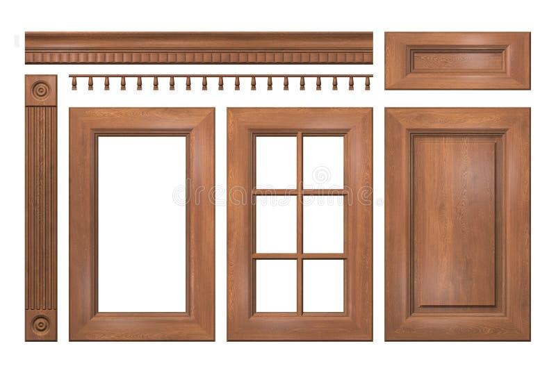 Μπροστινή συλλογή των ξύλινων πορτών, συρτάρι, στήλη, γείσο για το γραφείο κουζινών ελεύθερη απεικόνιση δικαιώματος