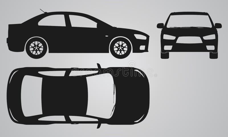 Μπροστινή, τοπ και δευτερεύουσα προβολή αυτοκινήτων διανυσματική απεικόνιση