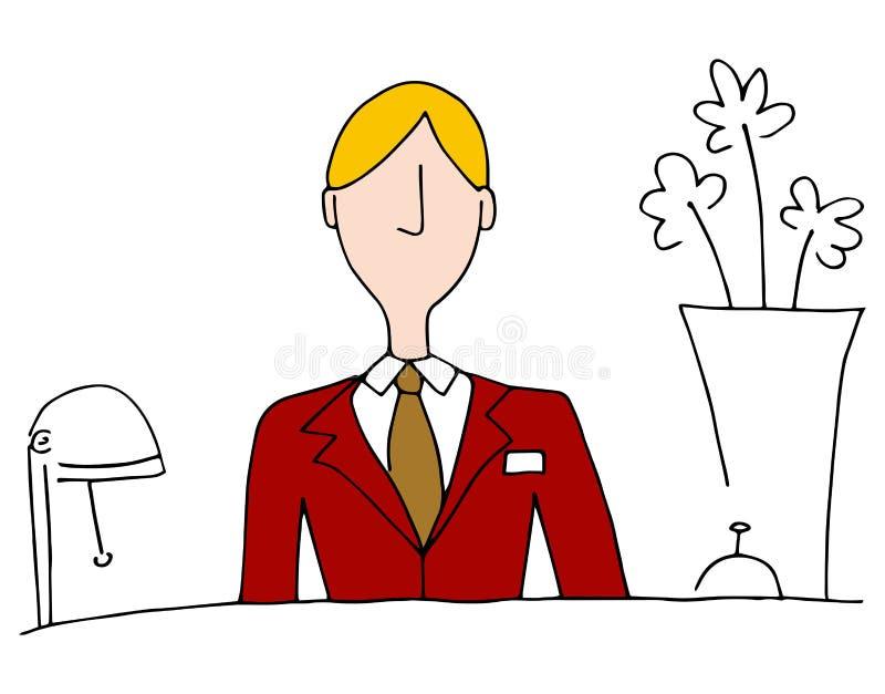 Μπροστινός διευθυντής γραφείων ξενοδοχείων διανυσματική απεικόνιση