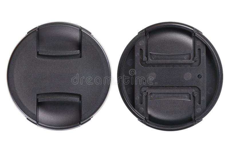 μπροστινός και πίσω μαύρος φακός ΚΑΠ που απομονώνεται στο λευκό στοκ εικόνες