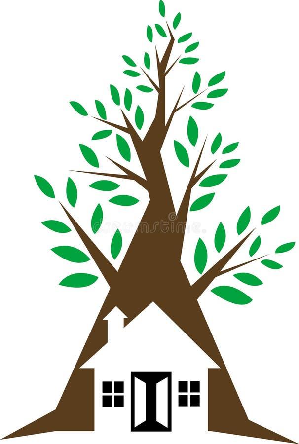 μπροστινό δέντρο σπιτιών διανυσματική απεικόνιση
