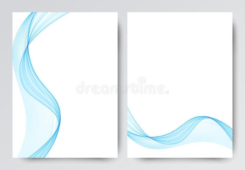Μπροστινό και πίσω δυναμικό κυματιστό σχέδιο προτύπων ιπτάμενων Αφηρημένο πρότυπο με τις μπλε γραμμές στο ελαφρύ ύφος απεικόνιση αποθεμάτων