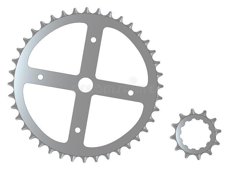 Μπροστινό και πίσω μέρος απομονωμένα βαραίνω ποδηλάτων ελεύθερη απεικόνιση δικαιώματος