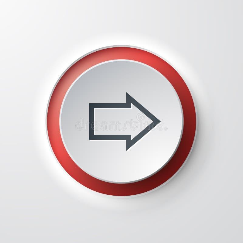 Μπροστινό κουμπί ώθησης εικονιδίων Ιστού βελών διανυσματική απεικόνιση