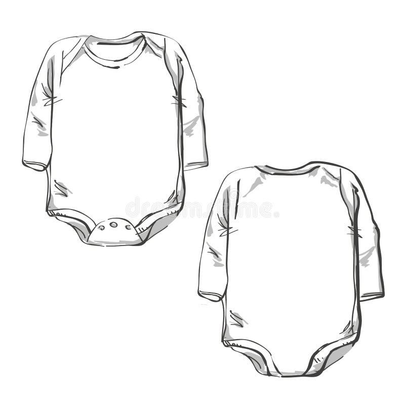 Μπροστινό μέρος και πίσω σκίτσο σωμάτων μωρών μερών ελεύθερη απεικόνιση δικαιώματος