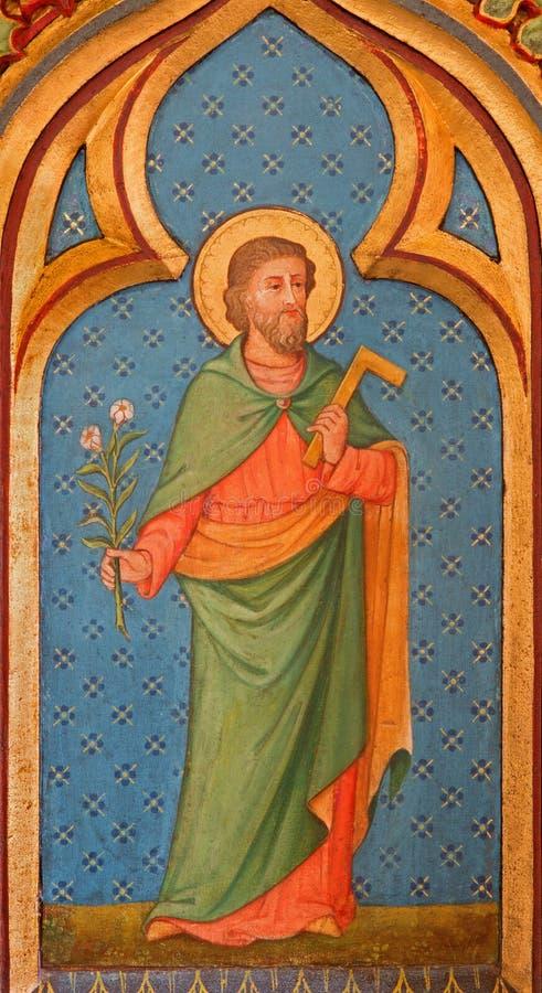 ΜΠΡΥΖ, ΒΕΛΓΙΟ - 13 ΙΟΥΝΊΟΥ 2014: Χρώμα Αγίου Joseph από το δευτερεύοντα βωμό στο ST Giles chruch στοκ φωτογραφία με δικαίωμα ελεύθερης χρήσης