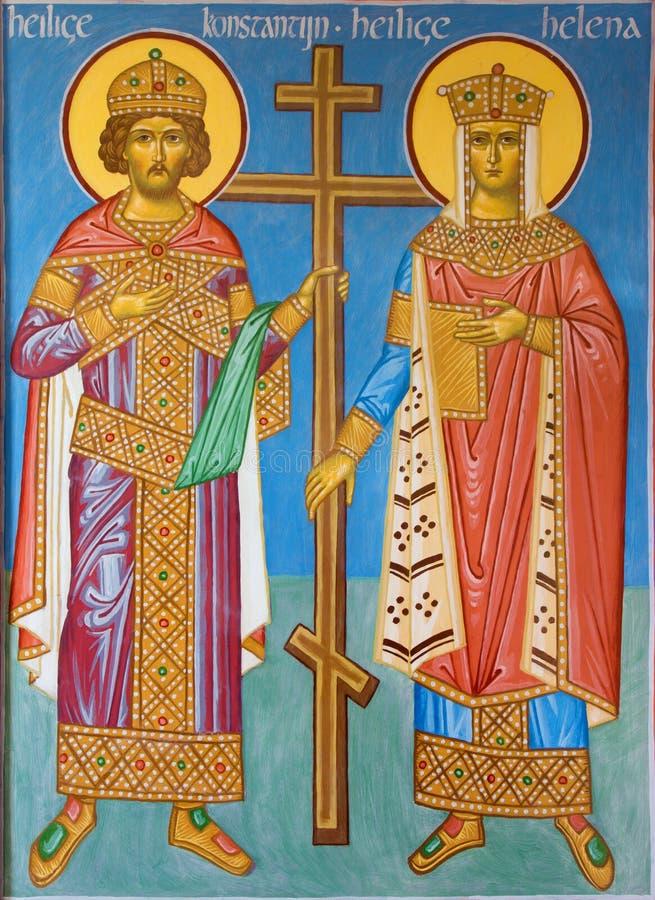 Μπρυζ - νωπογραφία του ST Constantine και Σάντα Έλενα στον προθάλαμο του ST Constanstine και της εκκλησίας της Helena orthodx (20 στοκ φωτογραφία