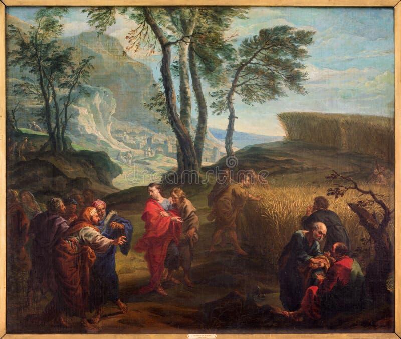 Μπρυζ - ο απόστολος στον τομέα σιταριού από το J Β Garemyn (1712 - 1795) στην εκκλησία του ST Jacobs (Jakobskerk) στοκ φωτογραφία