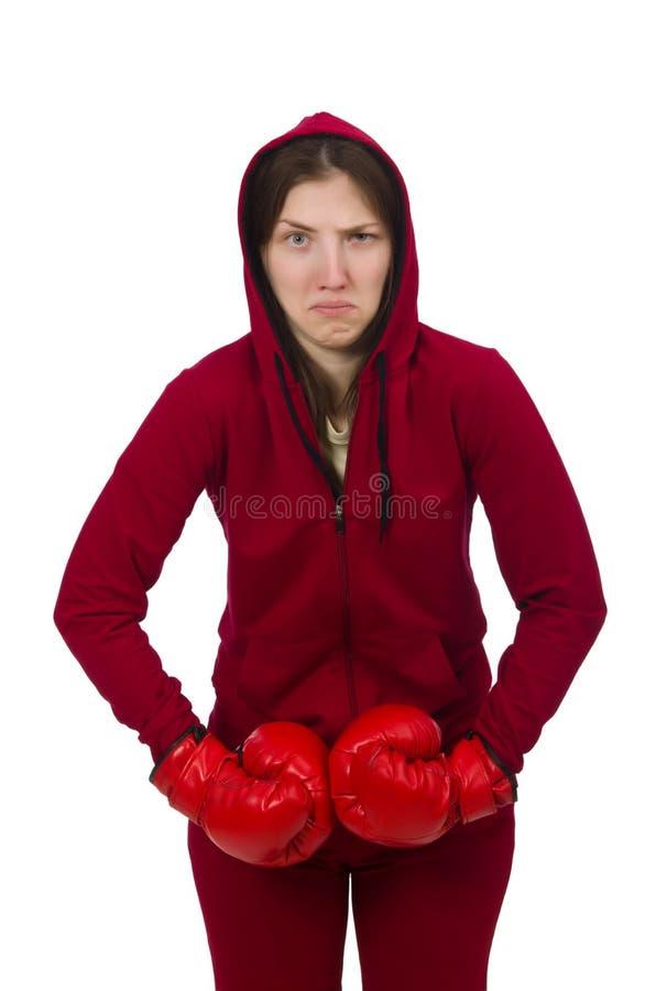 Download Μπόξερ γυναικών που απομονώνεται στο λευκό Στοκ Εικόνα - εικόνα από ανταγωνιστής, αερόμπικ: 62704025