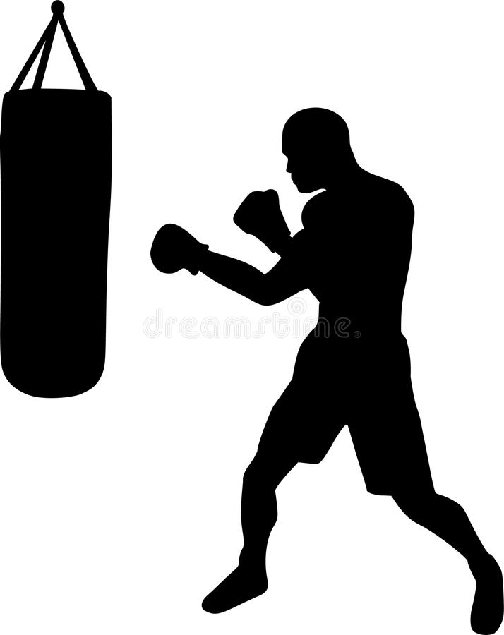 Μπόξερ με Punching την τσάντα ελεύθερη απεικόνιση δικαιώματος