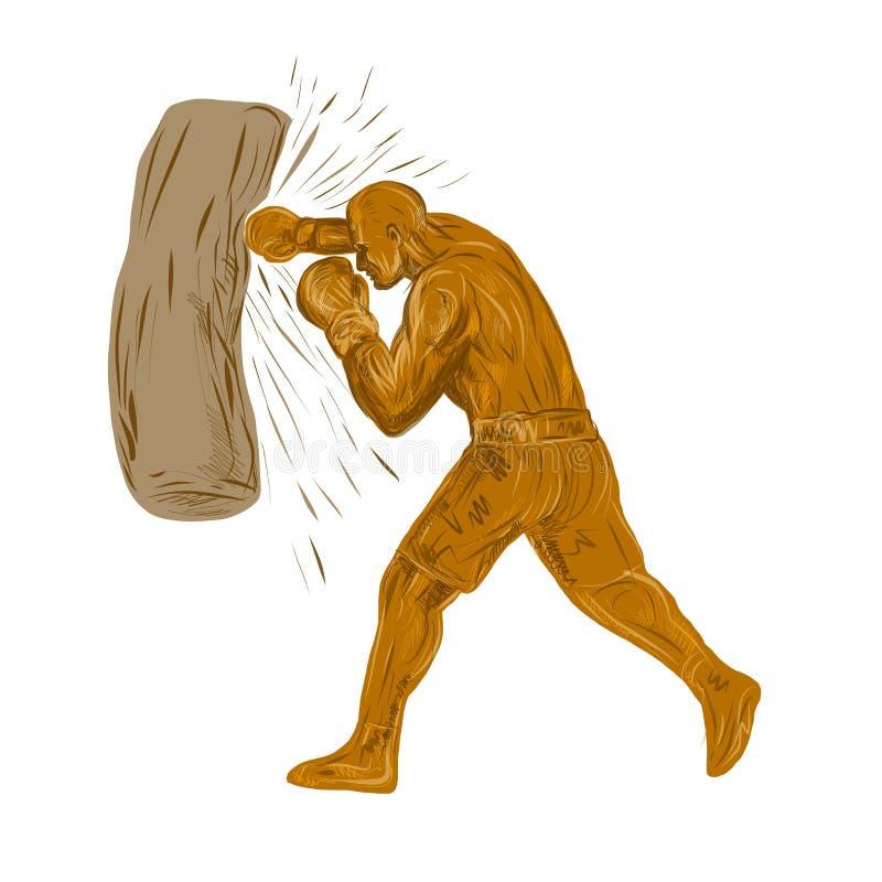 Μπόξερ-punching-τσάντα-DWG διανυσματική απεικόνιση