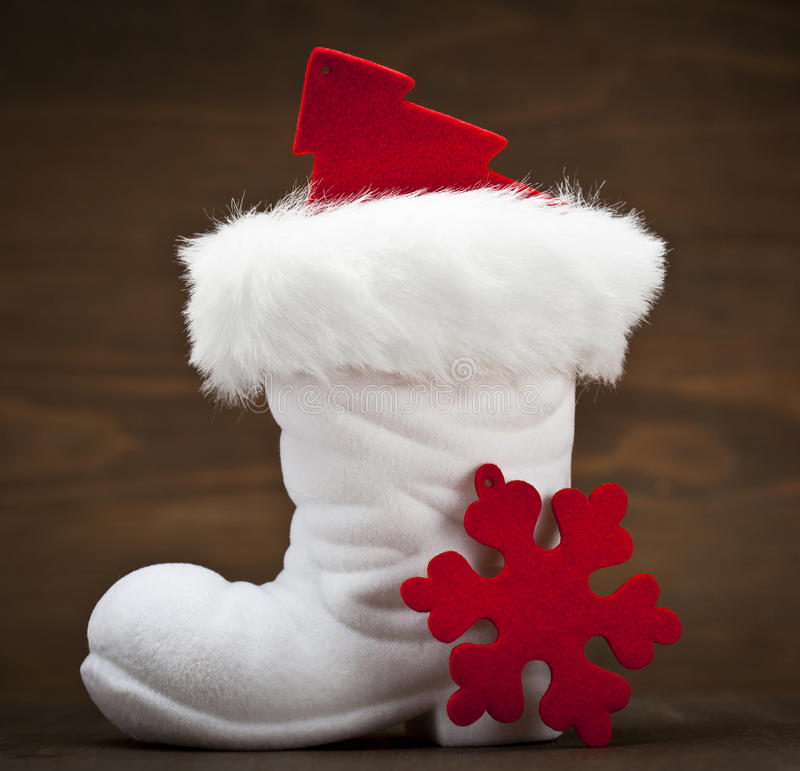 Μπότα άσπρου Santa στοκ εικόνα