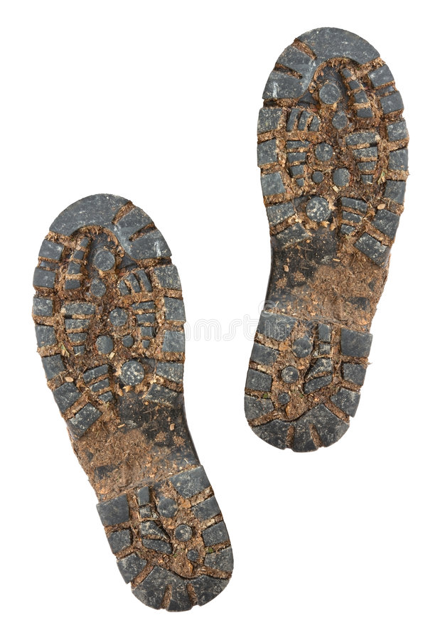 μπότα που τα λασπώδη πέλματα στοκ φωτογραφία