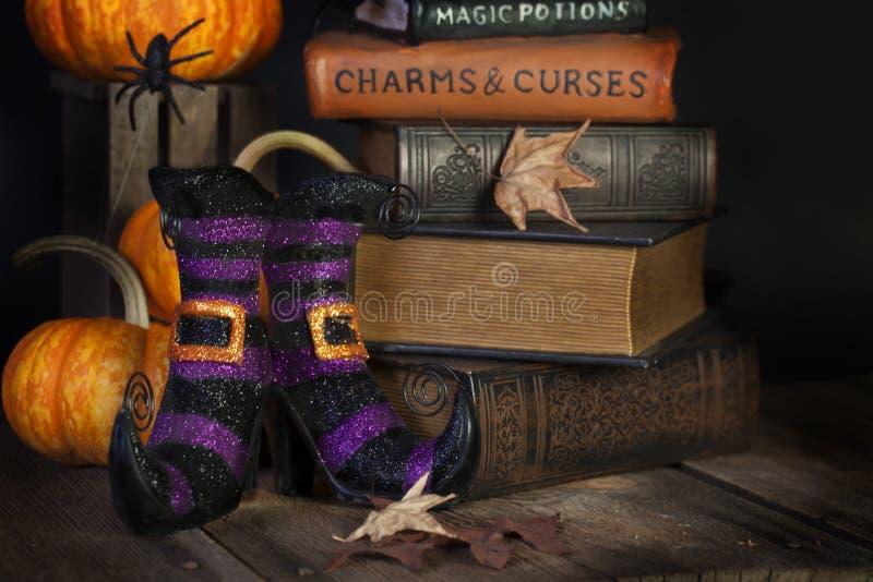 Μπότες και βιβλία μαγισσών στοκ φωτογραφία