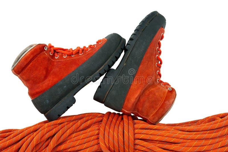 Μπότες και σχοινί ορειβασίας στοκ εικόνα με δικαίωμα ελεύθερης χρήσης