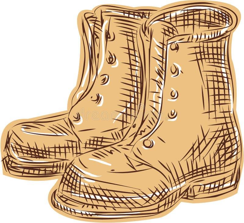 Μπότες παλαιά χαρακτική απεικόνιση αποθεμάτων