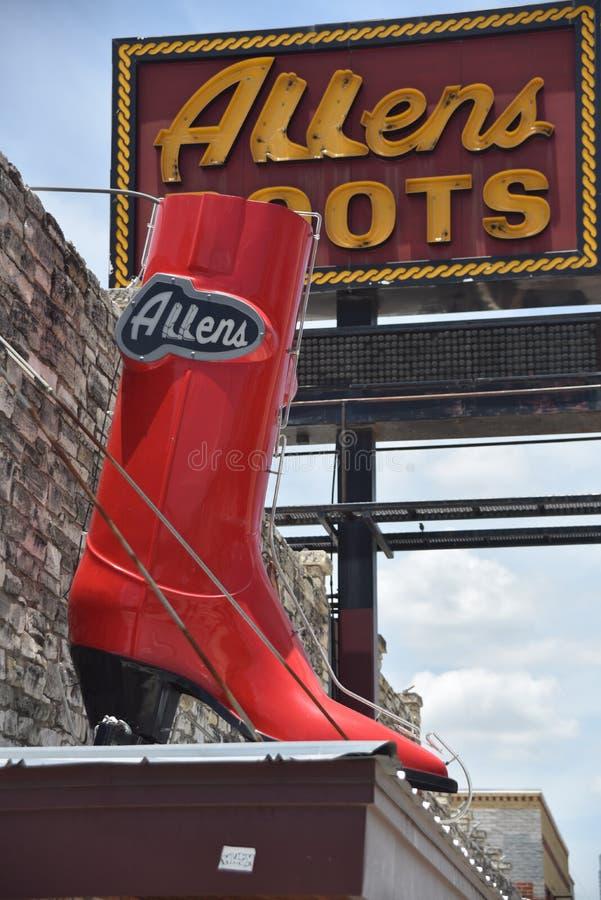 Μπότες Allens στο Ώστιν Τέξας στοκ εικόνα με δικαίωμα ελεύθερης χρήσης
