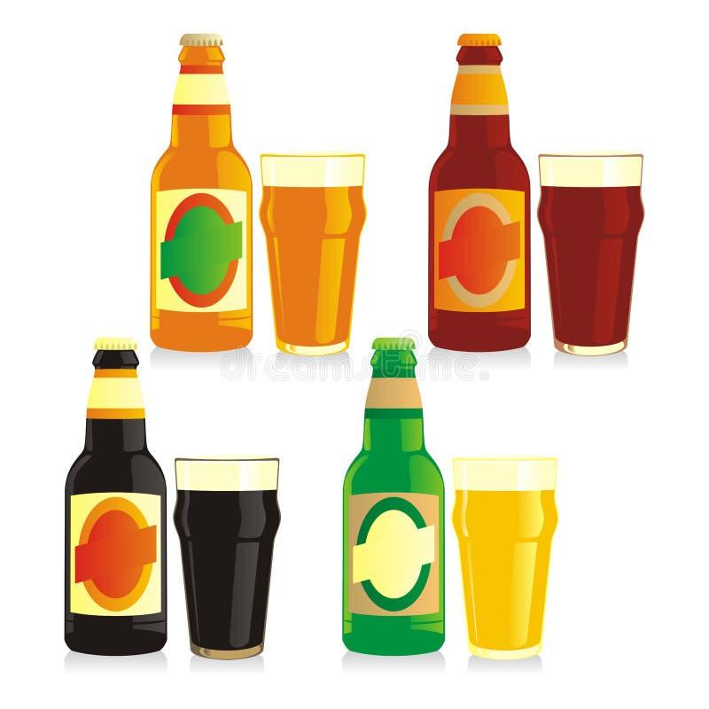 μπύρας μπουκαλιών γυαλιά που απομονώνονται διαφορετικά ελεύθερη απεικόνιση δικαιώματος