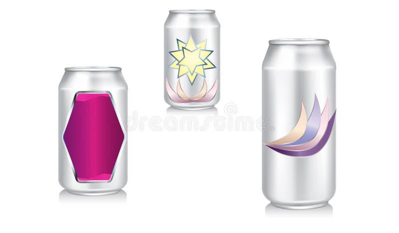Μπύρα αργιλίου, σόδα, ενεργειακά δοχεία τρισδιάστατα ελεύθερη απεικόνιση δικαιώματος