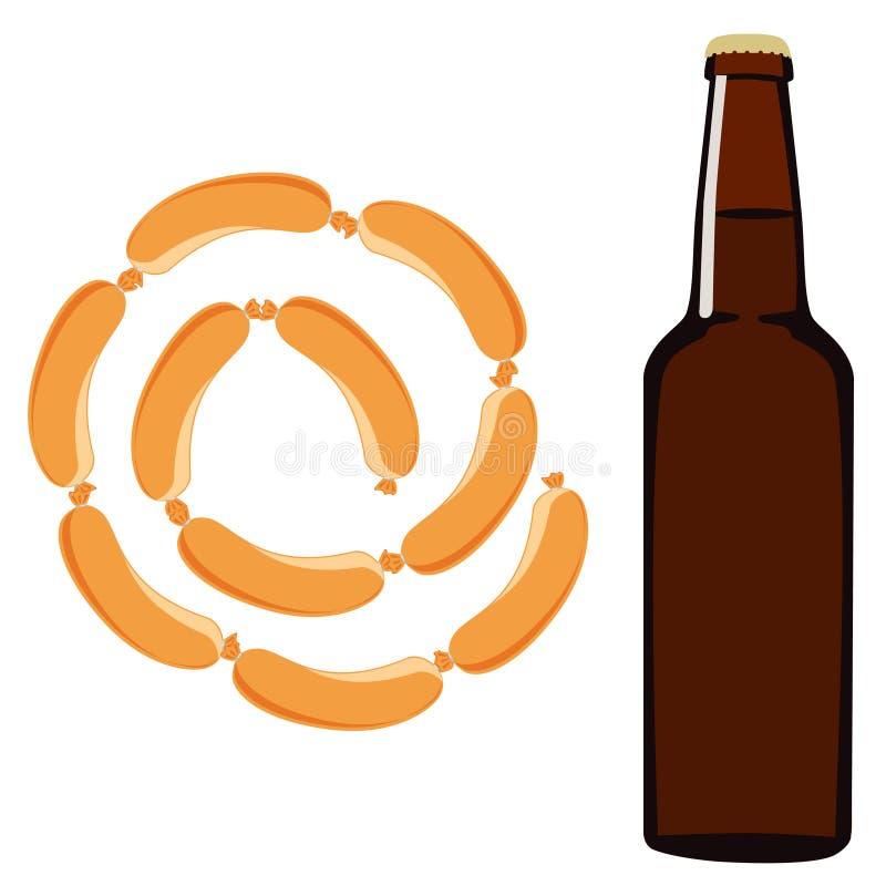 Μπύρα και λουκάνικο διανυσματική απεικόνιση