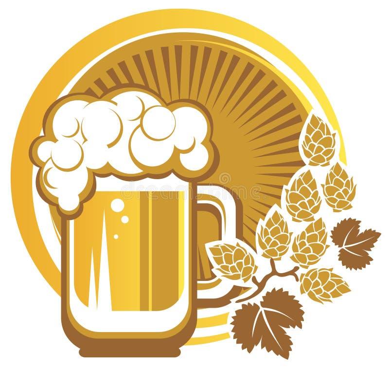Μπύρα και λυκίσκοι διανυσματική απεικόνιση