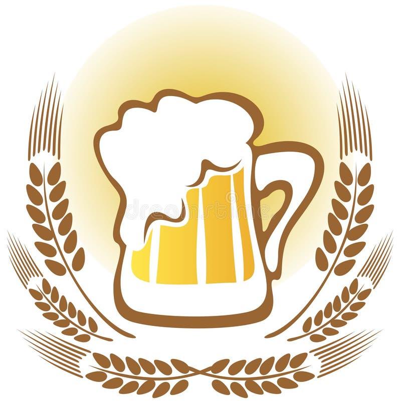 Μπύρα με τα αυτιά σίτου ελεύθερη απεικόνιση δικαιώματος