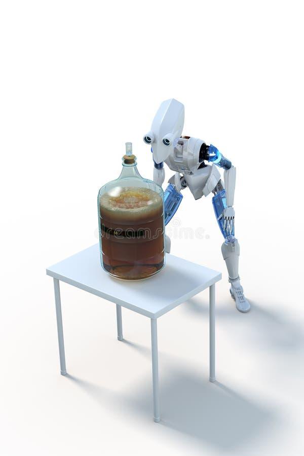 Μπύρα παρασκευής ρομπότ: Ζύμωση διανυσματική απεικόνιση